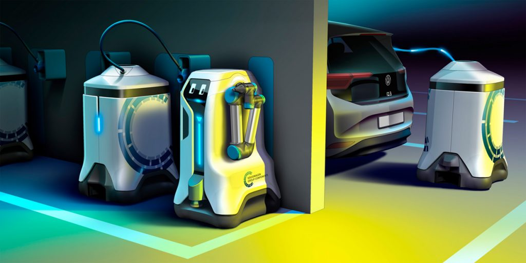 Volkswagen's Concept Robot Would Bring Mobile EV Charging to Any Garage