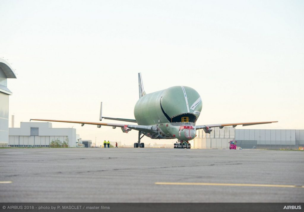 First BelugaXL transporter rolls out assembly line